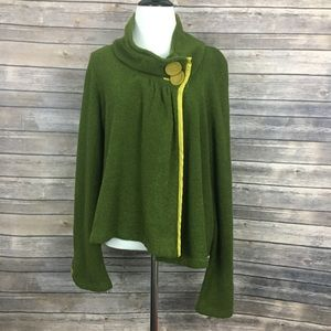 Anthropologie Sparrow Green Funnel Neck Cardigan